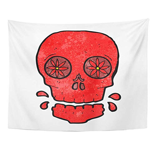 AOCCK Wandteppiche Wall Hanging Drawing Cartoon Mexican Candy Skull Character Clip Crazy Cute Doodle Funny Halloween 60
