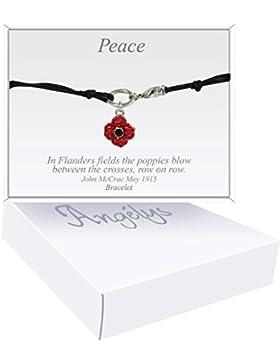 Remembrance Poppy–Charity Spende Geschenk–emailliert und Ebnen Kristall Poppy Armband Kordel Schwarz 4Petals