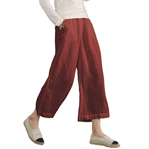 Ecupper Damen Leinenhose 7/8 Sommerhosen Leicht mit Elastischem Bund Casual Loose Fit Trousers, Weinrot, DE 44 (Fit-yoga-hosen Relaxed)