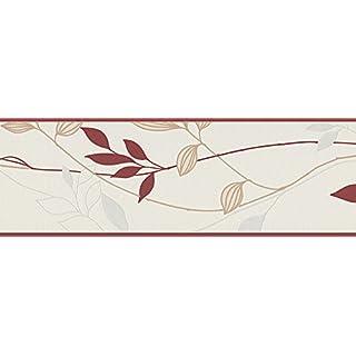 A.S. Création Bordüre Avenzio, floral, natürlich, creme, rot, 249630