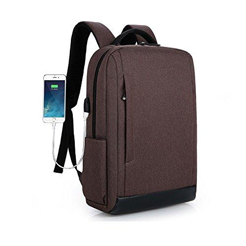 Notebook Tuch Gebunden (Unbekannt Laptop-Rucksack mit USB-Ladeanschluss und Diebstahlsicherung, 15,6-Zoll-Notebook-Tasche, Wasserdichter Schulrucksack, Neutraler Rucksack, Wasserdichter Rucksack,Brown)