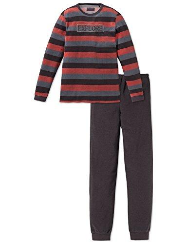 Schiesser Jungen Zweiteiliger Schlafanzug Anzug lang, Schwarz (Espresso 004), 164 (Herstellergröße: M)