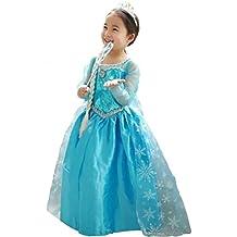 Vestido Frozen Niñas Disfraz ANNA ELSA (110 (3-4 años))
