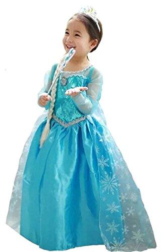 Prinzessin Elsa Anna Kostüm Kinder Glanz Kleid Mädchen Weihnachten Verkleidung Karneval Party Halloween Fest Kostüm (4 - 5 Jahre)