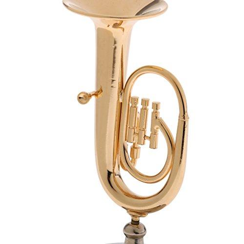 Baoblaze Miniatur Musikinstrument Modell aus Holz oder Kupfer, Puppenzubehör Für 1: 6 Aktion Figur - Tuba-2