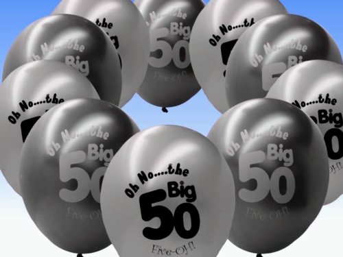 20 Black And Silver 50th Birthday Party Balloons
