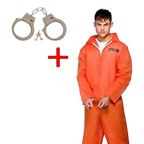 Prisoner Orange Jumpsuit Fancy Dress costume + Metal Handcuffs
