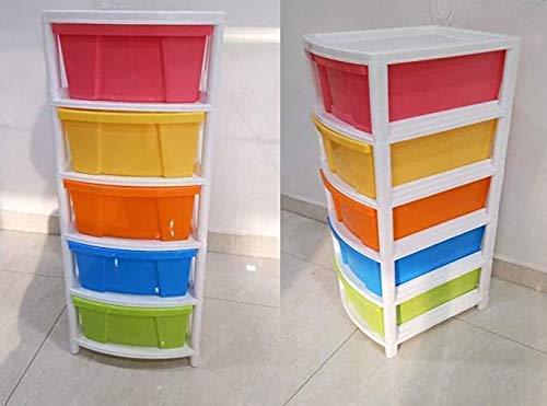 Vertexs Aristo Multipurpose 5 Drawer Plastic Modular Chest Storage Organizer (Multicolour, 30.5x39x75)