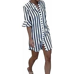 ❤️ Camisas de Mujer,Modaworld Camisa a Rayas Blusa con Manga de Cuerno de Mujer Media Manga Tops Blusa Larga Camisas Mujer Elegantes
