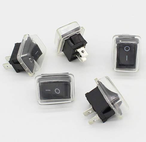 EGM - 5 Stück 6 A 250 V AC/10 A 125 V AC - 2 Positionen ON/OFF, 2 Pins, Mini-Drucktaster schwarz rechteckig mit wasserdichter Kappe -