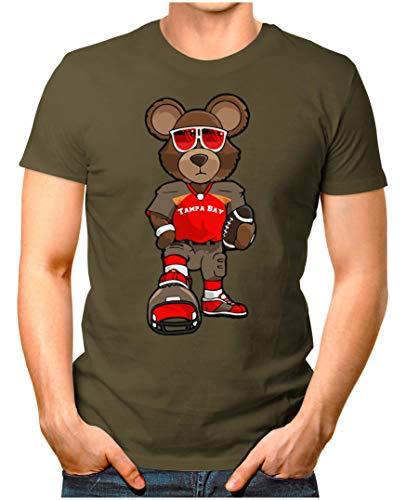 OM3® - Tampa-Bay-Bear - T-Shirt | Herren | American Football Shirt | M, Oliv