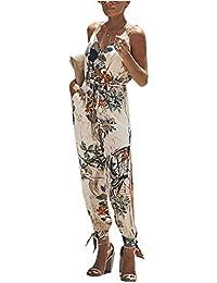 0c4d659c08d77e ZIYYOOHY Damen Elegant Sommer Blume Gedruckt Ärmellos Playsuit Jumpsuits  Overall Romper Wide Hosen Mit Gürtel
