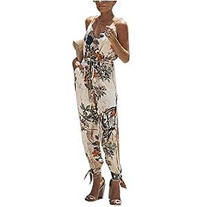 ZIYYOOHY Damen Elegant Sommer Blume Gedruckt Ärmellos Playsuit Jumpsuits Overall Romper Wide Hosen Mit Gürtel