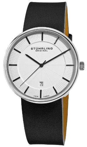 Stuhrling Original Man 2443315 Orologio da Polso, Display Analogico, Uomo, Cinturino in Pelle di Vitello, Nero