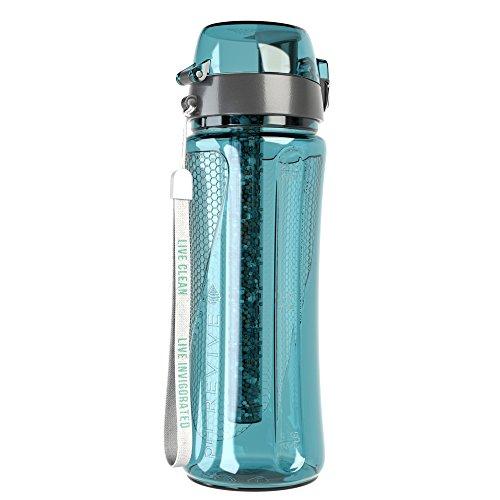 Invigorated Water - pH REVIVE - Trinkflasche mit Wasserfilter für basisches Wasser - mit Transporthülle - Aquablau - 750 ml
