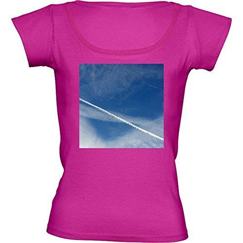 T-shirt Rosa Fuschia Girocollo Donne - Taglia M - Pizzo Bianco Sul Cielo by feiermar