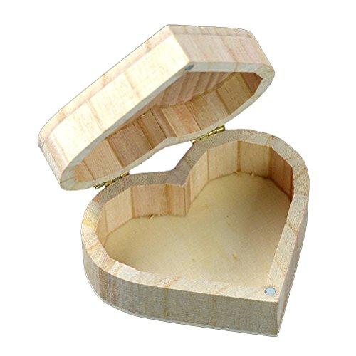 Vorcool scatola portaoggetti in legno a forma di cuore, per piccoli oggetti, in confezione regalo