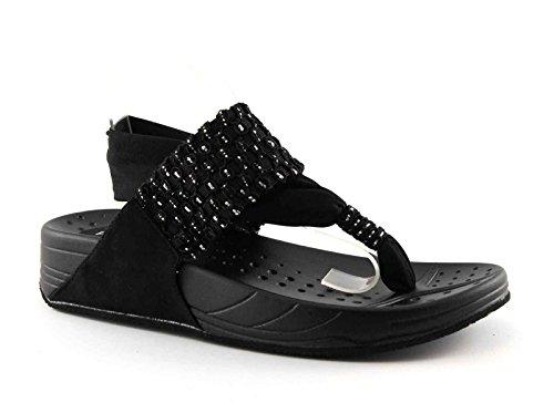 pregunta-kahlua-black-nero-scarpe-donna-sandalo-infradito-elastico-glitter-36