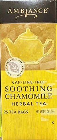 1.37oz Ambiance Soothing Chamomile Herbal Tea, Caffeine Free, 25 Tea Bags (One Box)