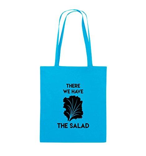 Comedy Bags - THERE WE HAVE THE SALAD - Jutebeutel - lange Henkel - 38x42cm - Farbe: Schwarz / Pink Hellblau / Schwarz