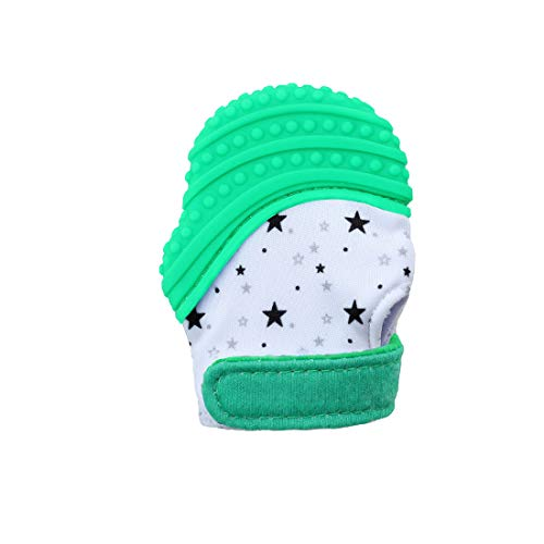 VIVOSUN Baby 1er Zahnen Handschuhe Schmerzlinderung Fäustling BPA Frei Silikon Zähne Beißring Zahnungshilfe für Neugeborenen Sterne Grün