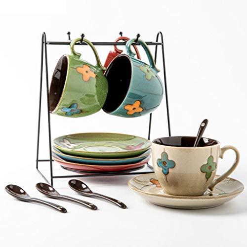 AMCER Clover Kaffeetasse Keramik Nachmittagsteetasse mit Untertasse und Löffel 4er Set
