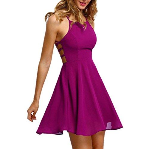 (Damen Sommerkleider Frauen Dress Ärmelloses Minikleid Frühling Herbst Abendkleid Backlos Partykleid A Line Vintage Cocktailkleid Verband Strandkleid Swing Kleider (XL, Sexy Hot Pink))