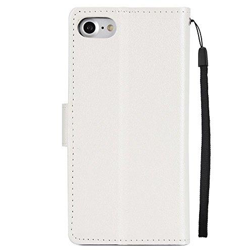 Classic Premiu PU Ledertasche, Horizontale Flip Stand Case Cover mit Cash & Card Slots & Lanyard & Soft TPU Interio Rückseite für iPhone 7 ( Color : Wine ) White