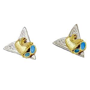 AW-Collection Kragenecken Collar Tips Westernhemd Adler Gold mit 2 türkisen Steinen Weißkopfseeadler Western Line Dance