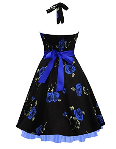 E-Girl M120318D Robe de bal Vintage pin-up 50's Rockabilly robe de soirée cocktail,S-XXL Bleu Noir