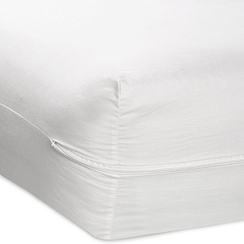 Zippered Fabric Mattress Cover, Protects Against Bed Bugs (Queen Size)