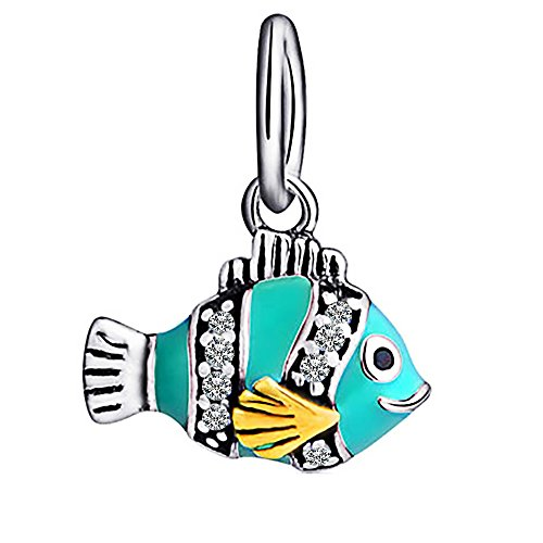 rm 925Sterling Silber–Bead für Pandora, Biagi und Troll Armbänder (Fisch Charms)