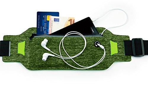 MyGadget Sport Hüfttasche Bauchtasche - Handy Jogging Tasche [extra flach] Fitness für u.a. Apple iPhone XS X 8 7 Samsung Galaxy S10 S9 - Grün