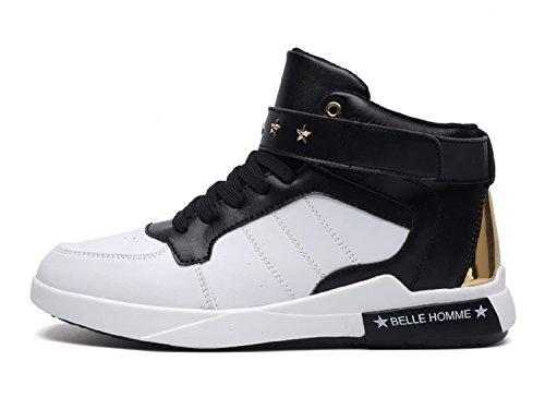 Tqgold scarpe da ginnastica sneakers alte sportive fitness uomo (bianca nero,44 eu)