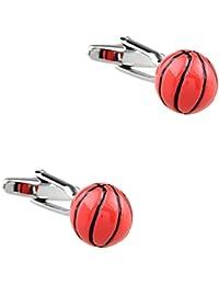 CIFIDET Gemelos Mancuernas del baloncesto 3D Forme a hombres la joyería de la camisa con la