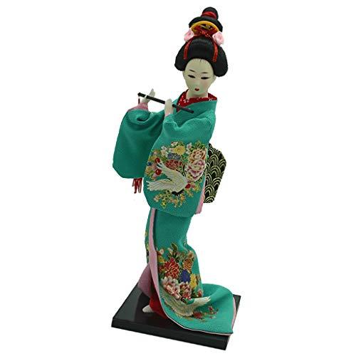 Fenteer 12 Zoll Traditionelle Japanische Geisha Puppe mit Kimono Outfit Dekofigur Sammfigur Handwerk Dekoration - Grün
