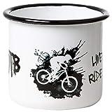 Mountainbike MTB - Hochwertiger Emaille Becher mit coolem Dirt-Design und - Live Slow Ride Fast - Spruch - leicht und robust - von tassenWERK.com