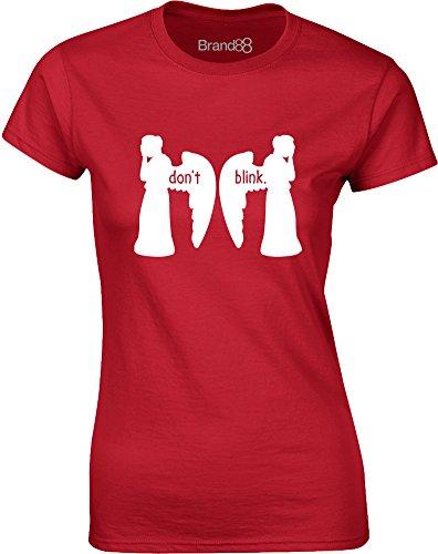 Brand88 - Don't Blink, Gedruckt Frauen T-Shirt Rote/Weiß