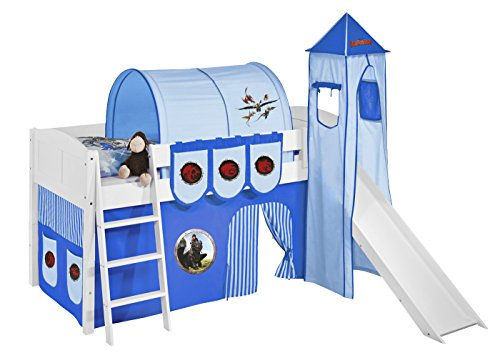 Lilokids Set Angebot - Spielbett IDA 4106 Dragons Blau mit Rutsche - Teilbares Systemhochbett Weiß - mit Vorhang, Turm, Tunnel und Taschen