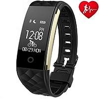 Fitness Armband Mit Pulsmesser Schlafmonitor, Ginsy Sportuhr Smart Wristband Aktivitätstracker Wasserdicht Pedometer für Android iOS Smartphones