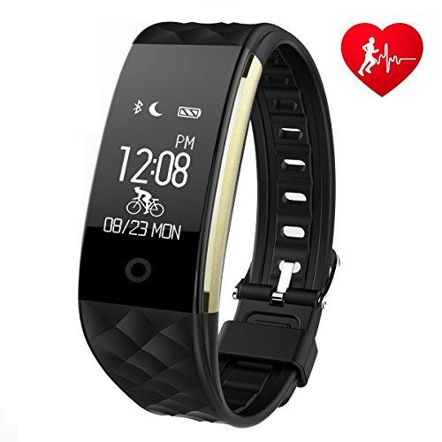 Fitness Armband Mit Pulsmesser Schlafmonitor, Ginsy Sportuhr Smart Wristband Aktivitätstracker Wasserdicht Pedometer für Android iOS Smartphones (Schwarz)