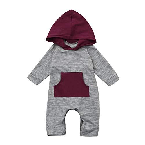 DAY8 Vêtement Bébé Garçon Naissance 0-18 Mois Pyjama Bébé Garçon Hiver Body Combinaison Bébé Garçon Manche Longue Manteau Bébé Fille à Capuche Barboteuse Grenouillère Automne (70(0-3 Mois), Gris)