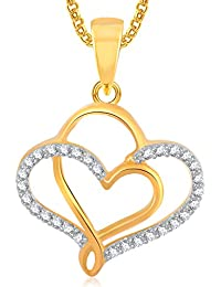 232c9c076 Meenaz Gold Plated Heart Pendant Locket Love Valentine Gifts With Chain In American  Diamond Cz Jewellery Set…