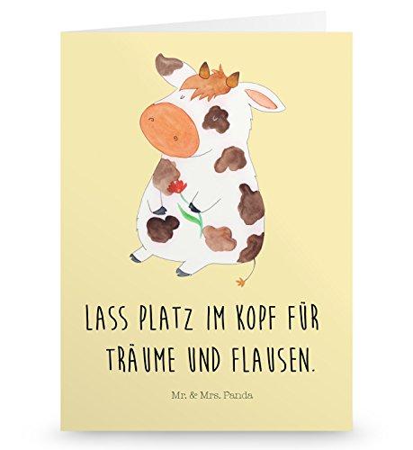 Mr. & Mrs. Panda Einladungskarte, Glückwunschkarte, Grußkarte Kuh mit Spruch - Farbe Vintage - Kuh Grußkarten