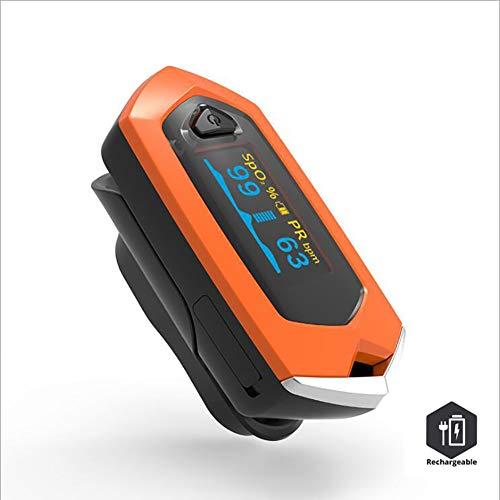 YHMMOO Pulsoximeter Digitales Fingeroximeter Wiederaufladbar mit OLED Farbdisplay zur Messung von Sauerstoffsättigung (SpO2) Puls (PR) und Perfusion Index (PI),Orange