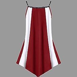 Hot Sale! Kanpola Fashion Womens Sequins Splice Casual Plus Size Sleeveless Two Tone Patchwork Irregular Sling Dress by Kanpola