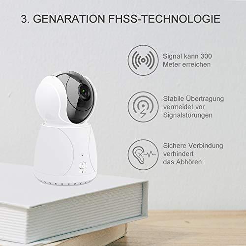 Bable Babyphone mit Kamera G1, 5 Zoll Großer Bildschirm Babyfon mit Fernbedienung Kamera, 300 Meter Signalreichweite, automatische Verfolgung, Ton und Temperaturalarm, Nachtsicht, Wiegenlied und Zweiwege Audio - 4