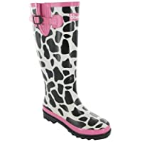 New Ladies Cotswold Moo Wellington Boots Womens Self-Lined Pvc Welly Shoes