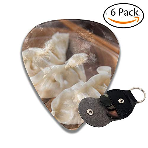 Close Up Fresh Boiled Dumplings With Hot Steams On Wood Plate Chinese Food On Rustic Old Vintage Stylish Celluloid Guitar Picks Plectrums For Guitar Bass 6 Pack.46mm