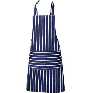 Chefs Apron, Blue, Kitchen Apron, Double Pockets, Machine Washable, Suitable for Domestic and Professional Purposes